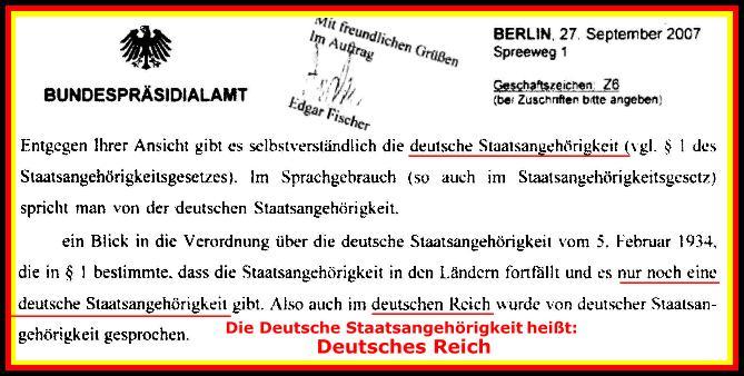Bundespräsidialamt: Deutsche Staatsangehörigkeit = Deutsches Reich